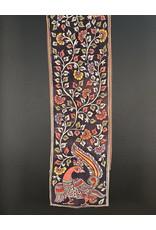 Dwaraka Hand Painted Silk Chiffon Scarf Black Multi Floral