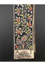 Dwaraka Hand Painted Silk Chiffon Scarf Black Rose Floral