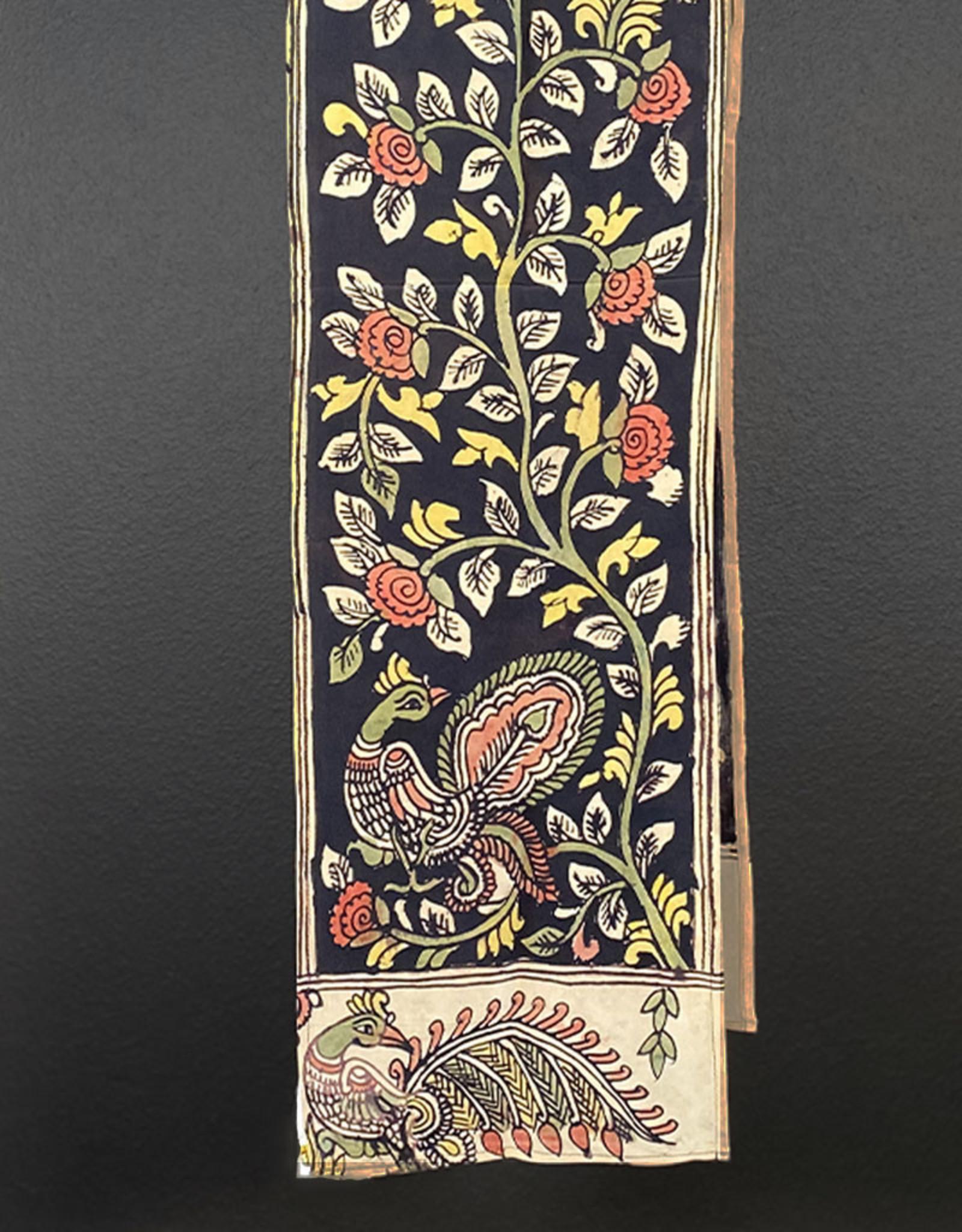 Dwaraka Black Floral Silk Chiffon Scarf with Peacock Border