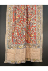 Dwaraka Sienna Silk Shawl with Floral Border