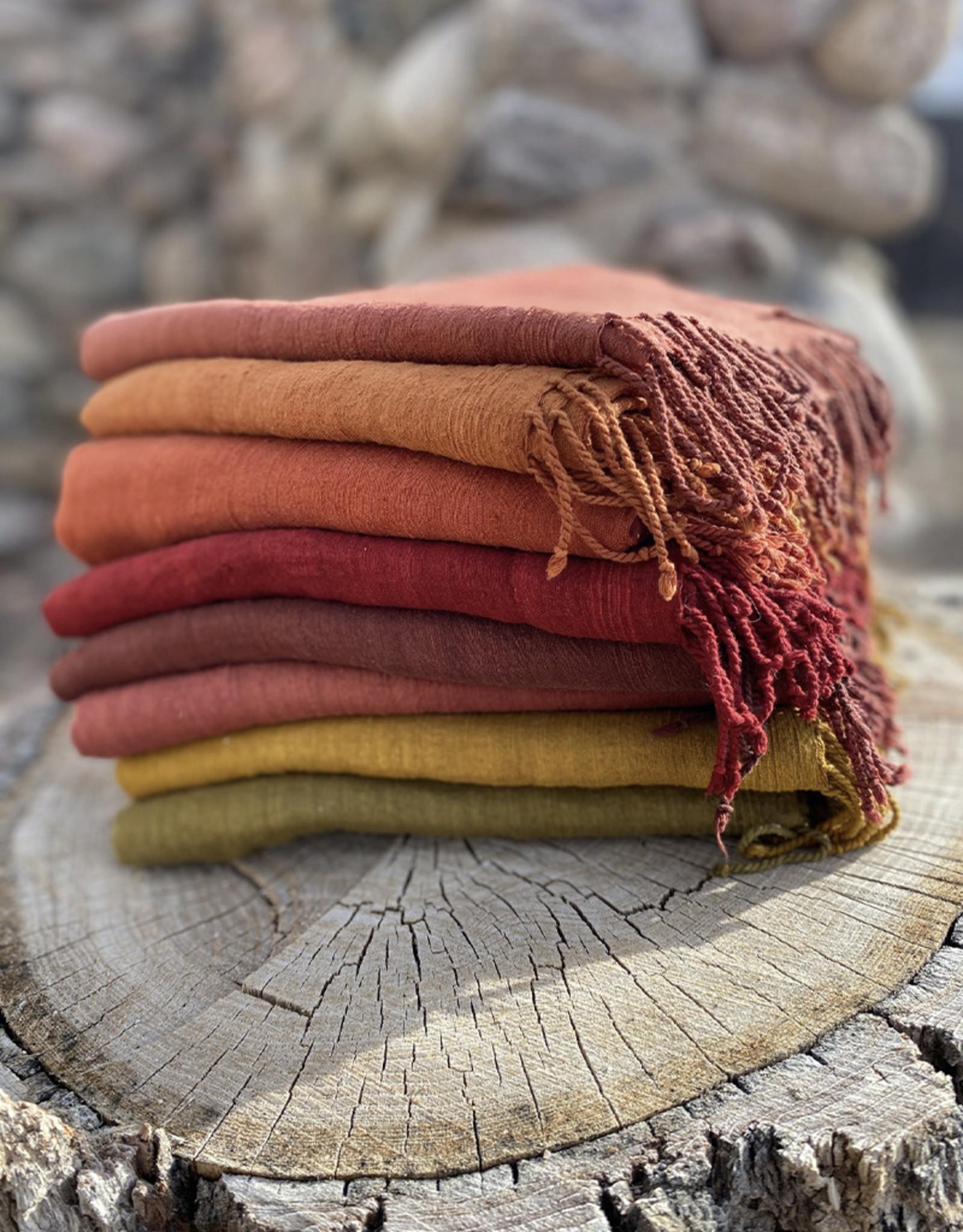 Haridra Handwoven Natural Dye Matka Silk Scarf Chili