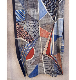 Haridra Hand Painted Natural Color Cotton Shawl Abstract 3