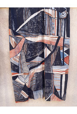 Haridra Hand Painted Natural Color Cotton Shawl Abstract 5