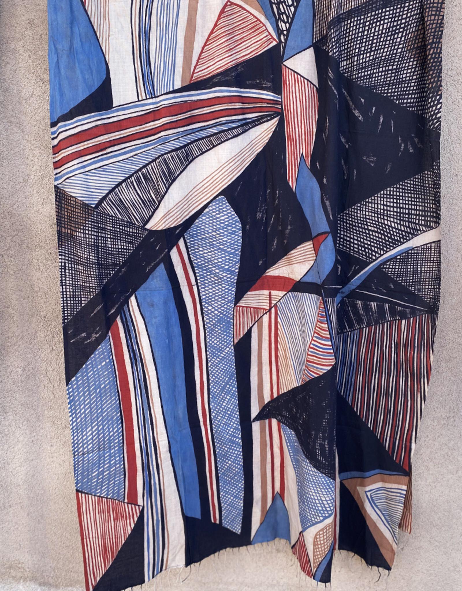 Haridra Hand Painted  Cotton Shawl Abstract 6