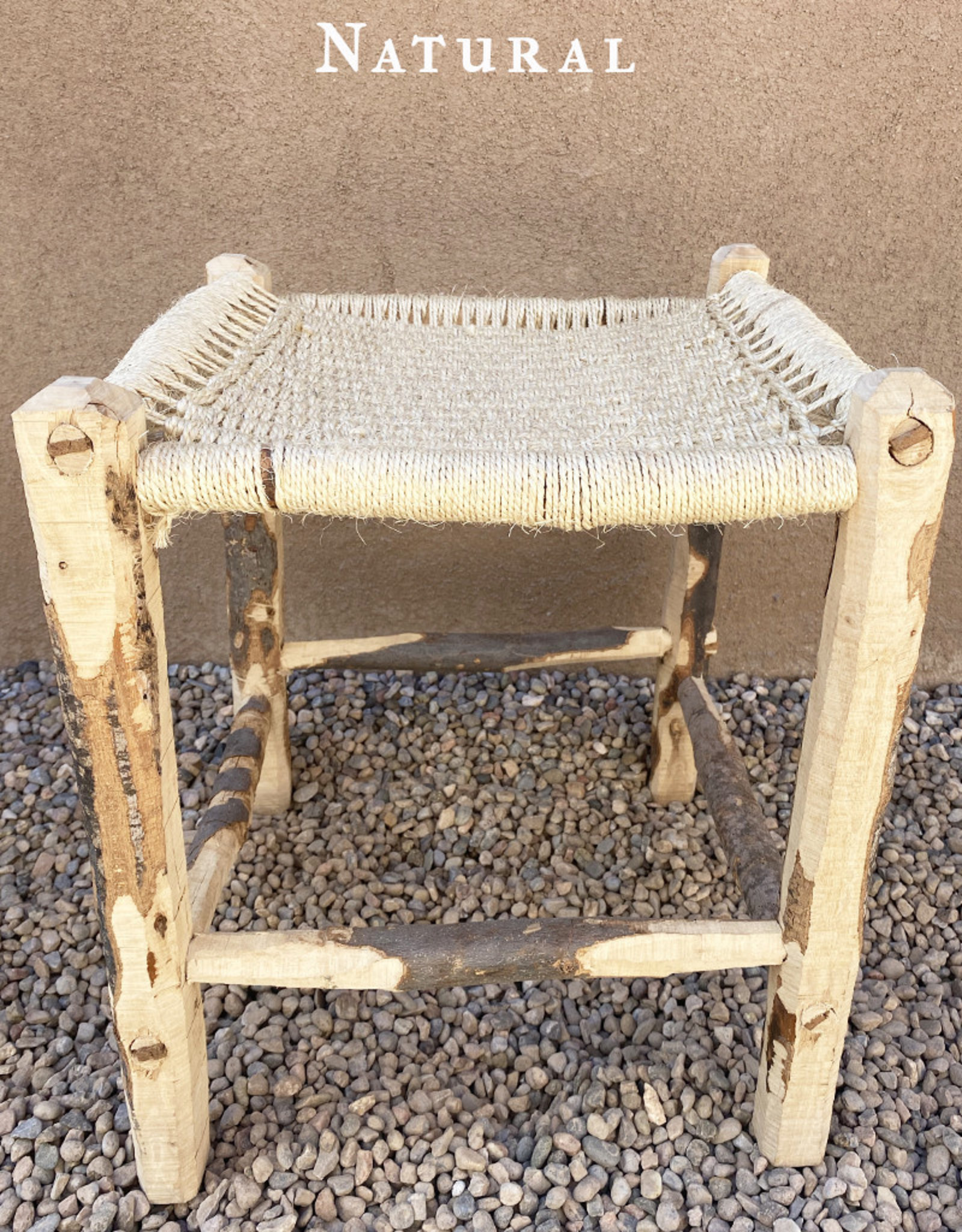 Artizana Mechy Handwoven Recycled Olive Wood Stools Natural