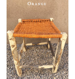 Artizana Mechy Handwoven Recycled Olive Wood Stools Orange