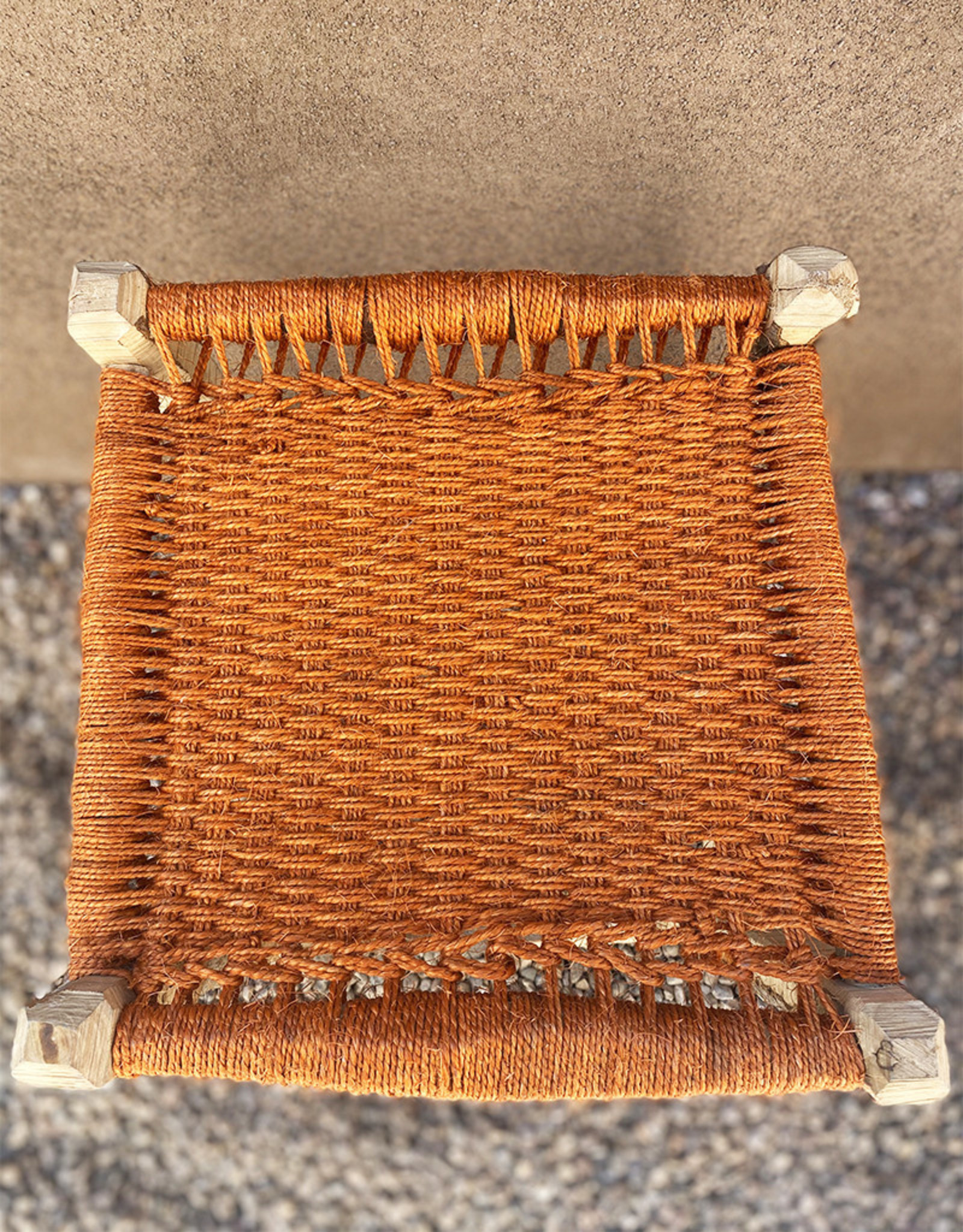 Artizana Mechy Handwoven Recycled Olive Wood Stools Orange