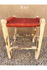 Artizana Mechy Handwoven Recycled Olive Wood Stools Red