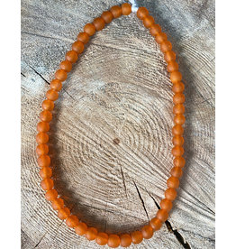Cedi Handmade Transparent Bead Strand Orange 1/2""