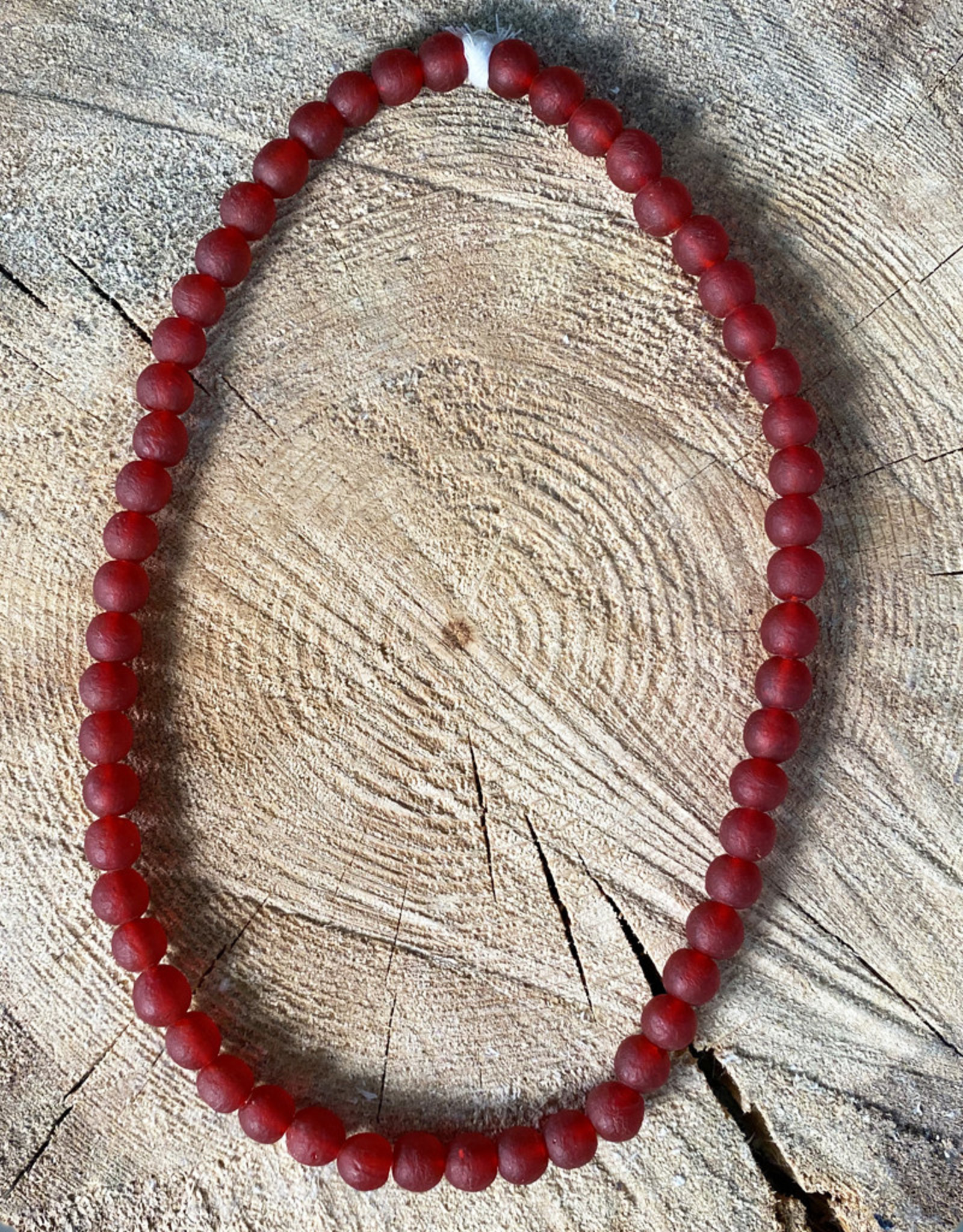 "Cedi Handmade Korli Bead Strand Red 3/8"""