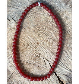 Cedi Handmade Transparent Bead Strand Red 3/8""