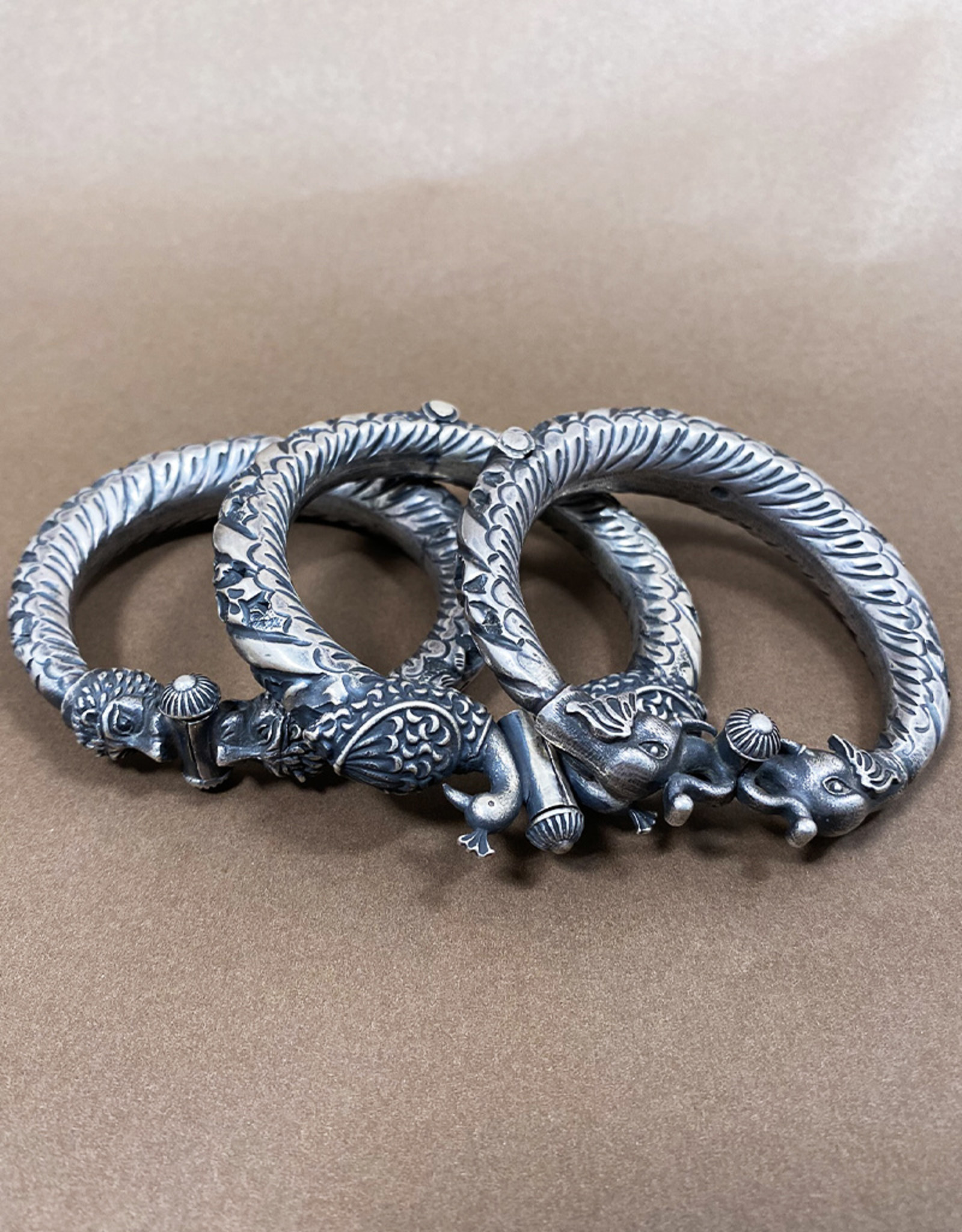 Jaipur Silver Elephant Bangle