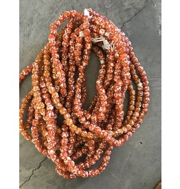 Cedi Handmade Transparent Bead Strand Orange/white 1/2""