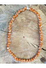 "Cedi Handmade Transparent Bead Strand Orange/white 1/2"""