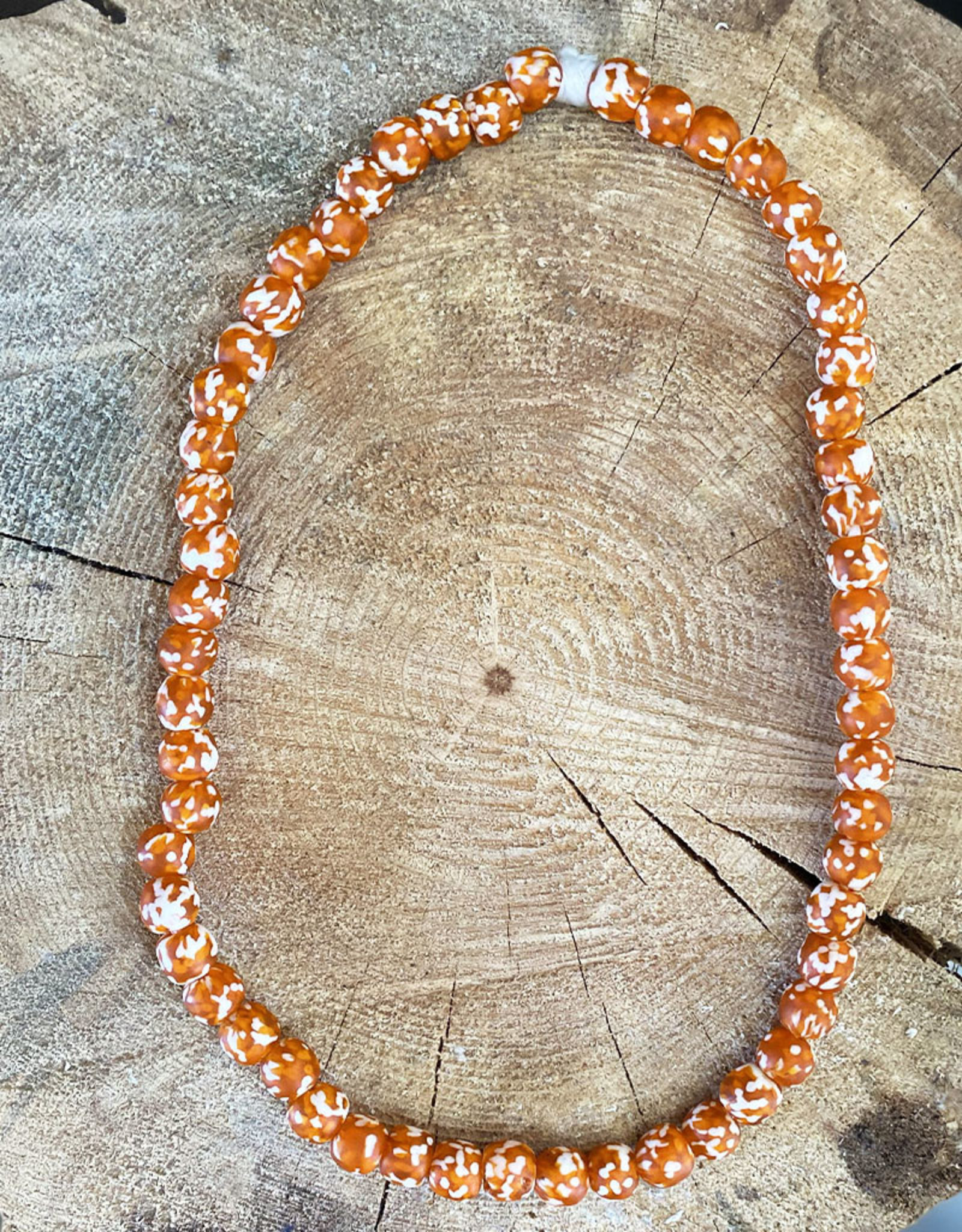 "Cedi Handmade Korli Bead Strand Orange/white 1/2"""