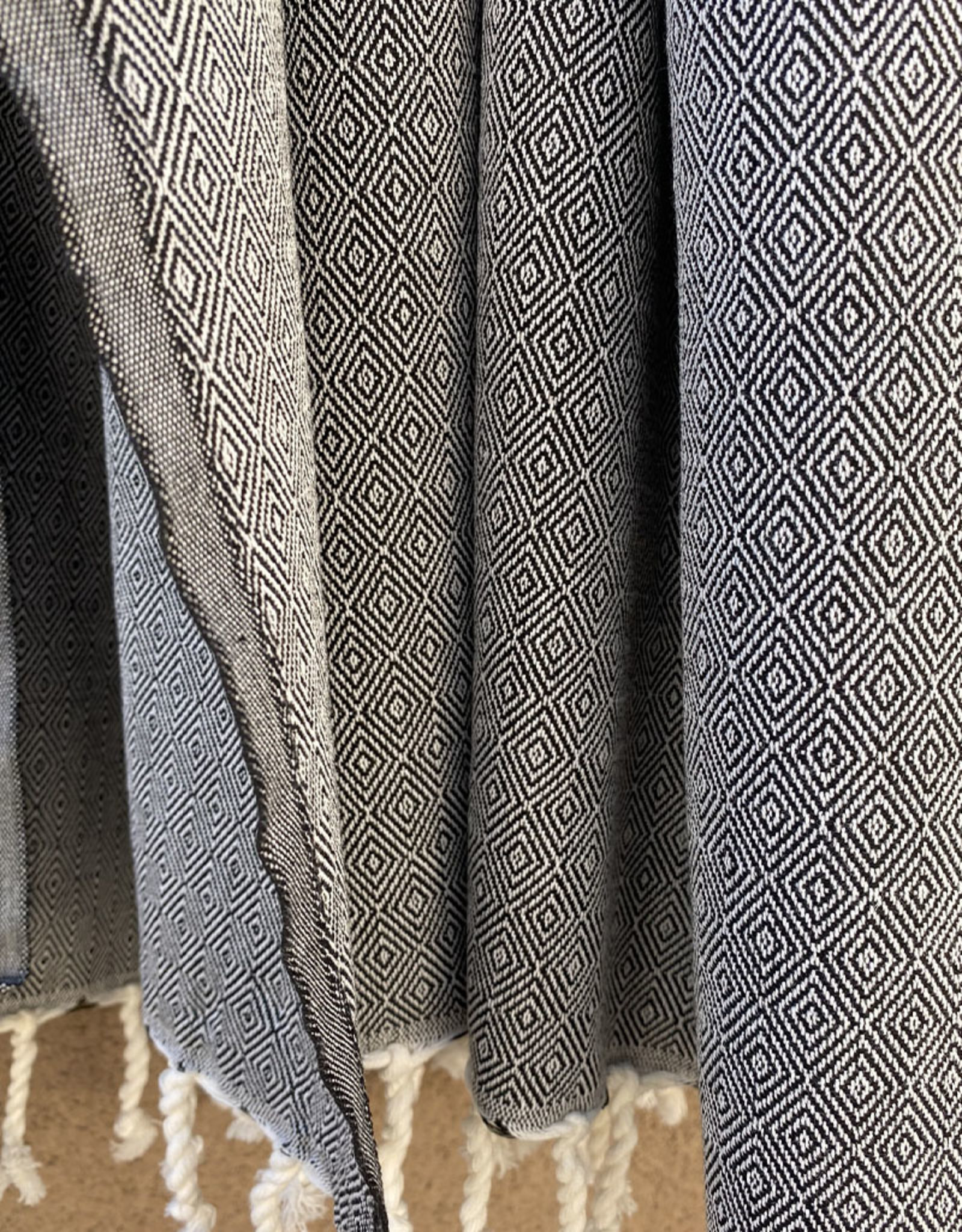Comptoir Diamond Tassel Towel Black