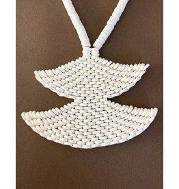Omba Ostrich Eggshell Double Fan Necklace