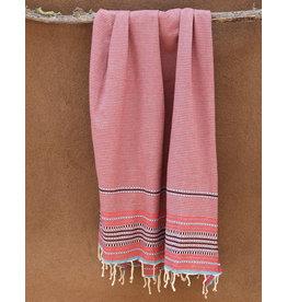 Comptoir de L'artisanat Berber Striped Fouta Red and Grey