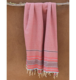Comptoir Striped Tassel Towel Red/Grey