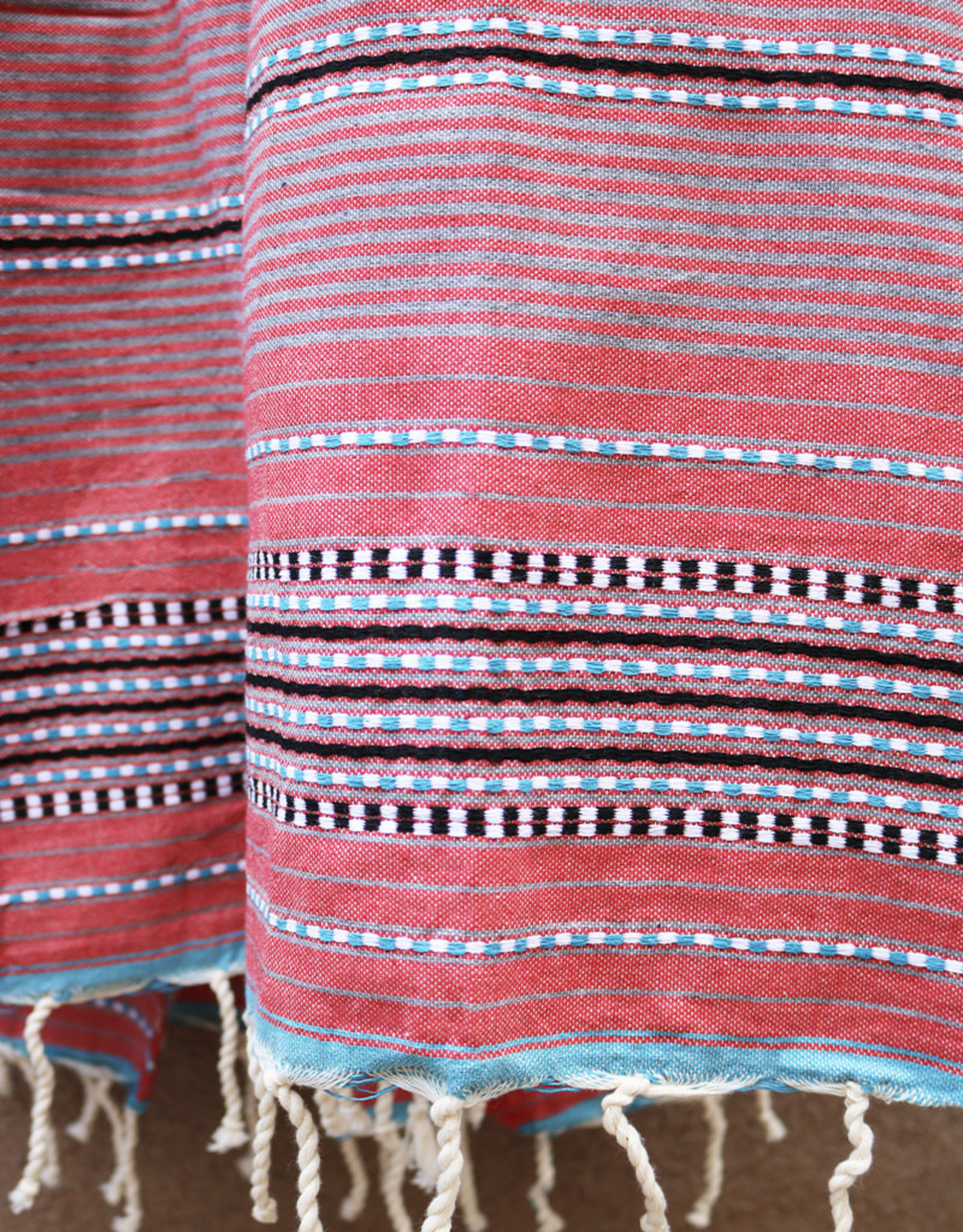 Comptoir Striped Tassel Towel Red/Grey