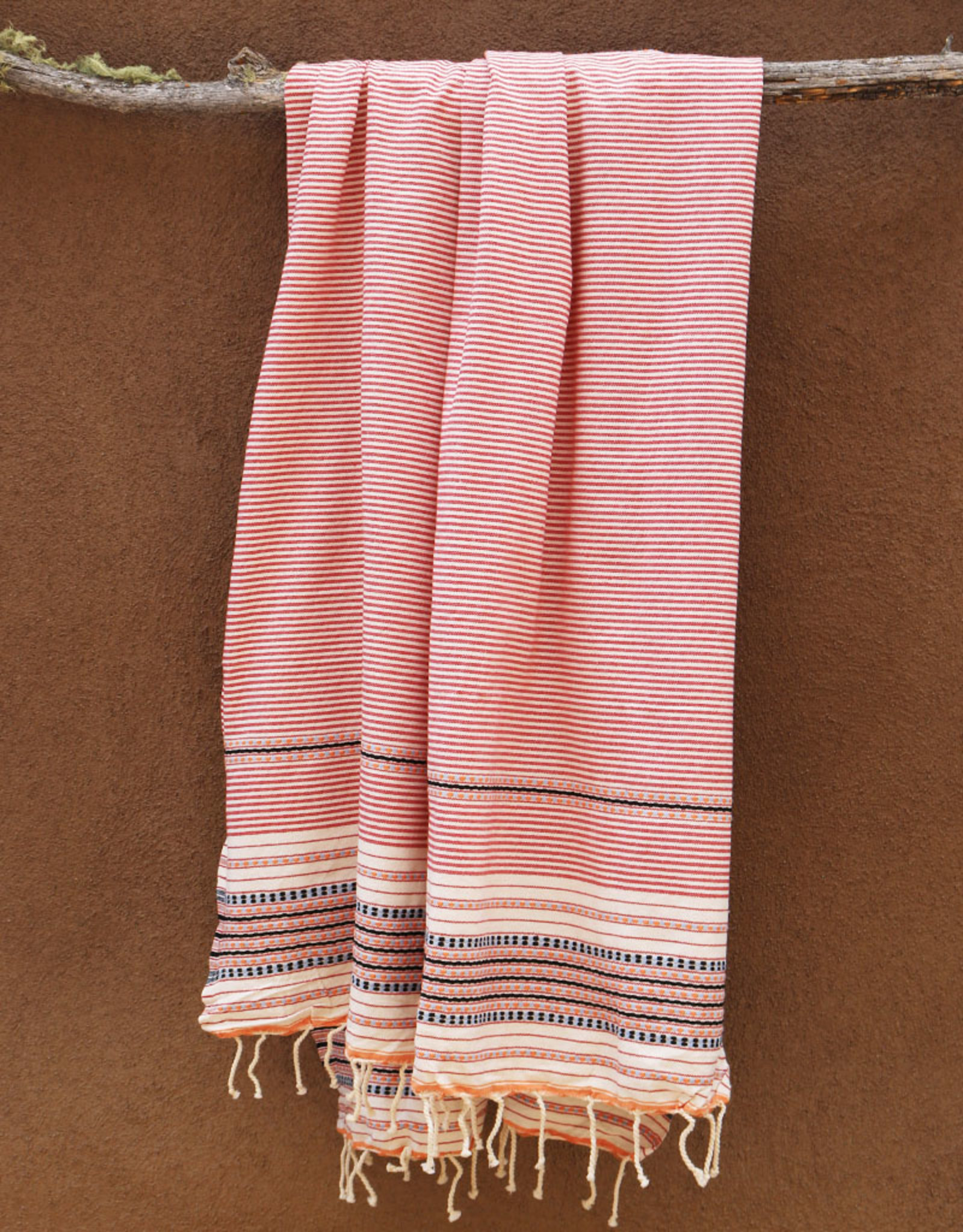 Comptoir Striped Tassel Towel Red/White