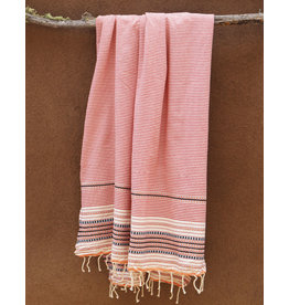 Comptoir Striped Tassel Towel Red/White