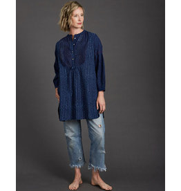 Dharan Indigo Pintuck Dappled Tunic