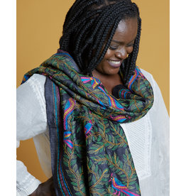 SHE Malika Scarf Birds Navy Multi