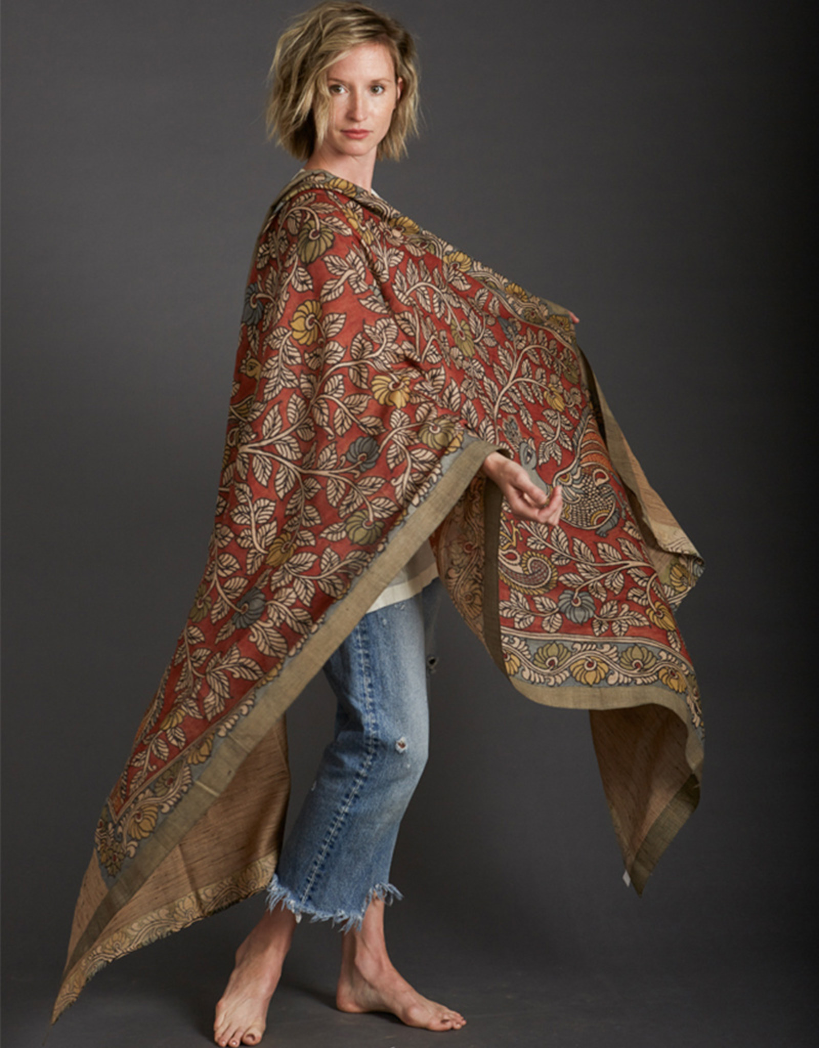 Dwaraka Hand Painted Silk Shawl with Woven Border