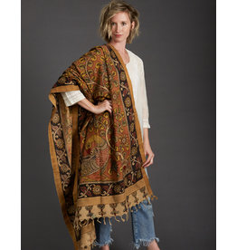 Dwaraka Gold Border Cotton Shawl Cinnamon and Black