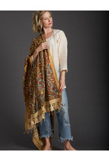 Dwaraka Gold Border Cotton Shawl Cinnamon and Cream