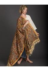 Dwaraka Cinnamon and Cream Cotton Shawl with Gold Border