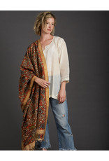 Dwaraka Gold Border Cotton Shawl  Sienna