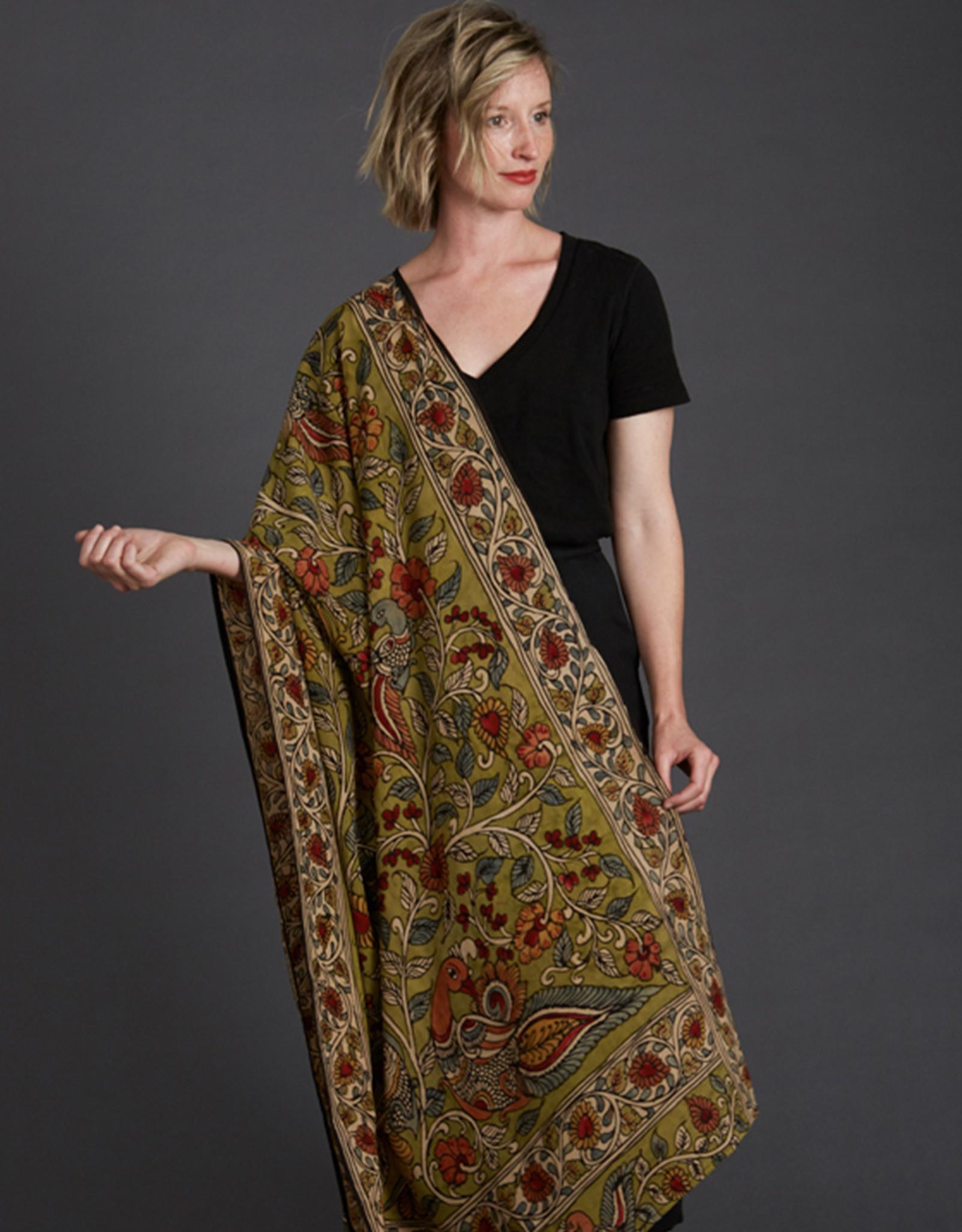 Dwaraka Olive Floral Silk Chiffon Shawl