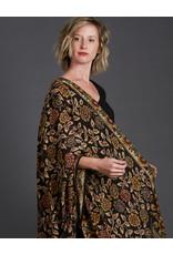 Dwaraka Black Floral Silk Chiffon Shawl