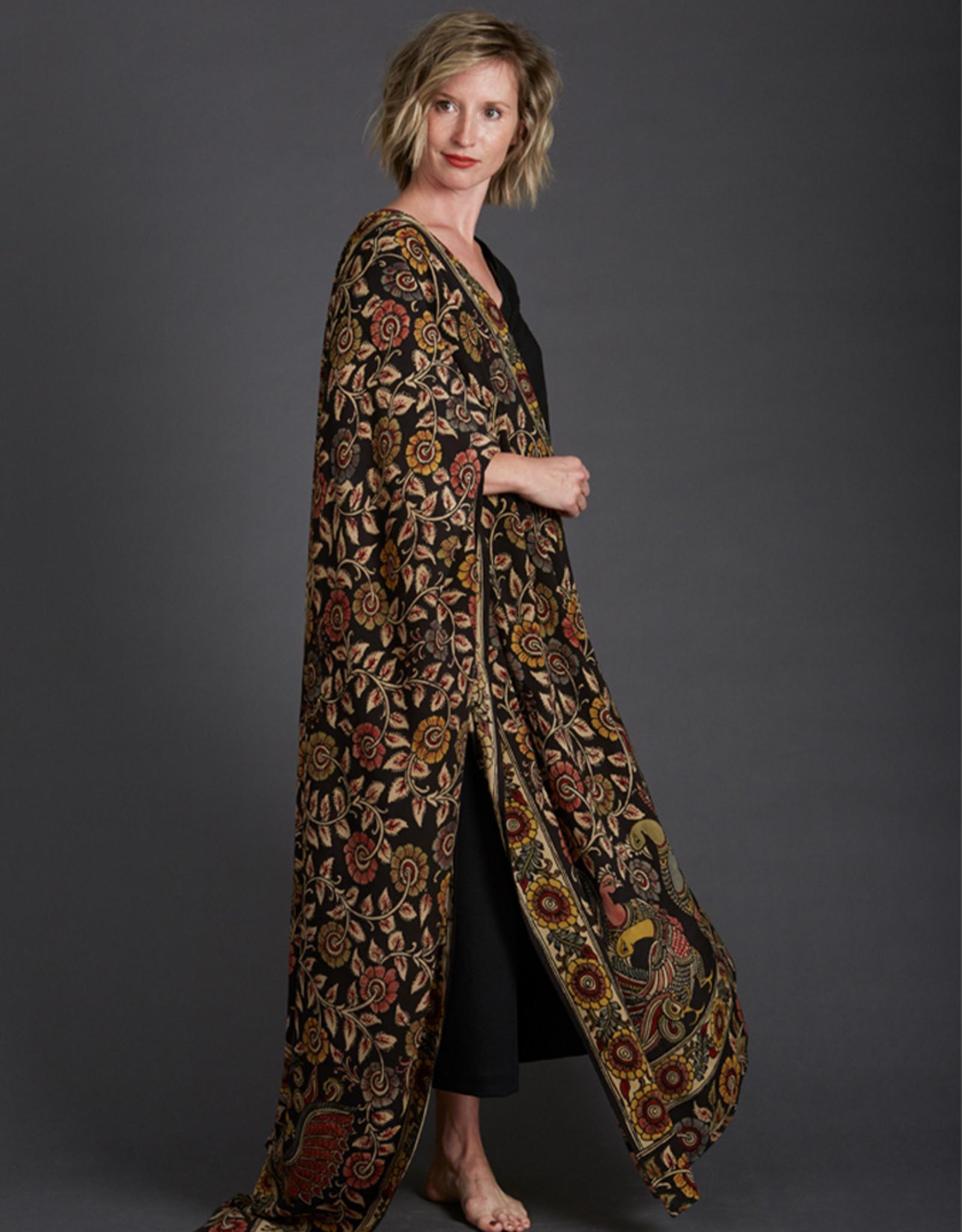Dwaraka Hand Painted Silk Chiffon Shawl Black Floral