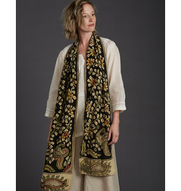Dwaraka Hand Painted Silk Chiffon Scarf Black Marigold Floral