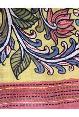 Dwaraka Marigold Cotton Scarf with Kantha Stitch Border