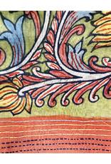 Dwaraka Hand Painted Cotton Scarf with Kantha Stitch Border Olive