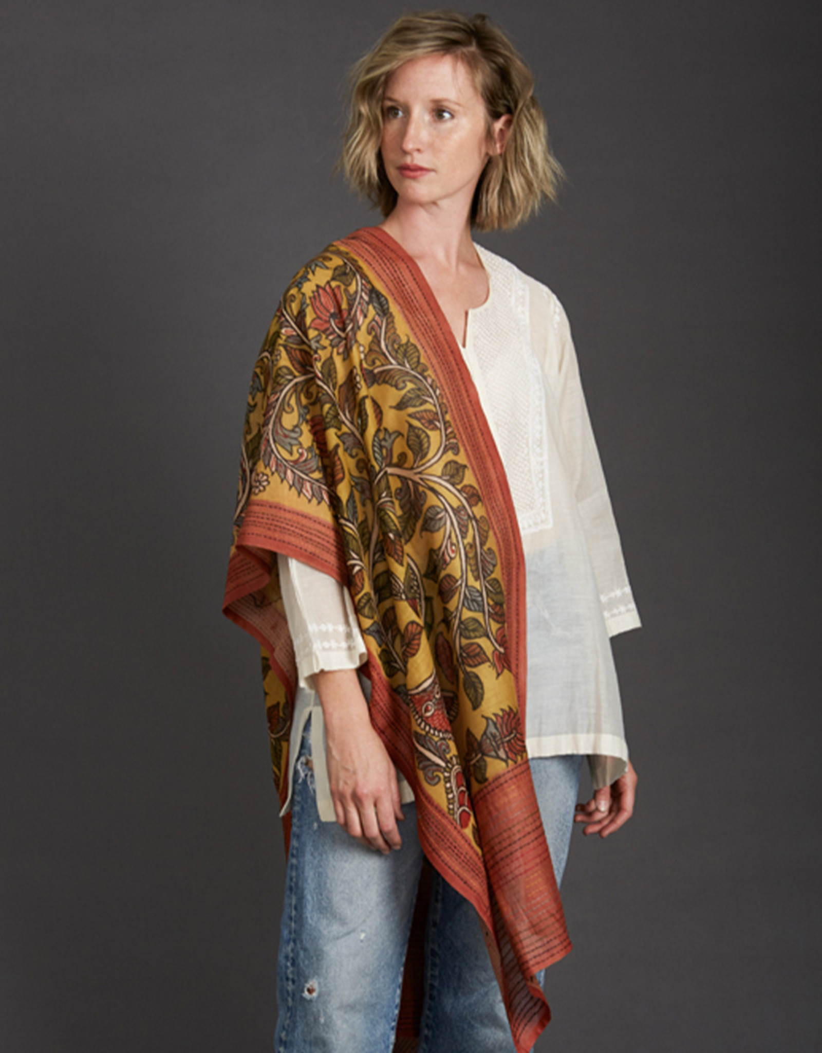 Dwaraka Hand Painted Cotton Scarf with Kantha Stitch Border Marigold