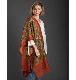Dwaraka Hand Painted Cotton Scarf with Kantha Stitch Border Olive