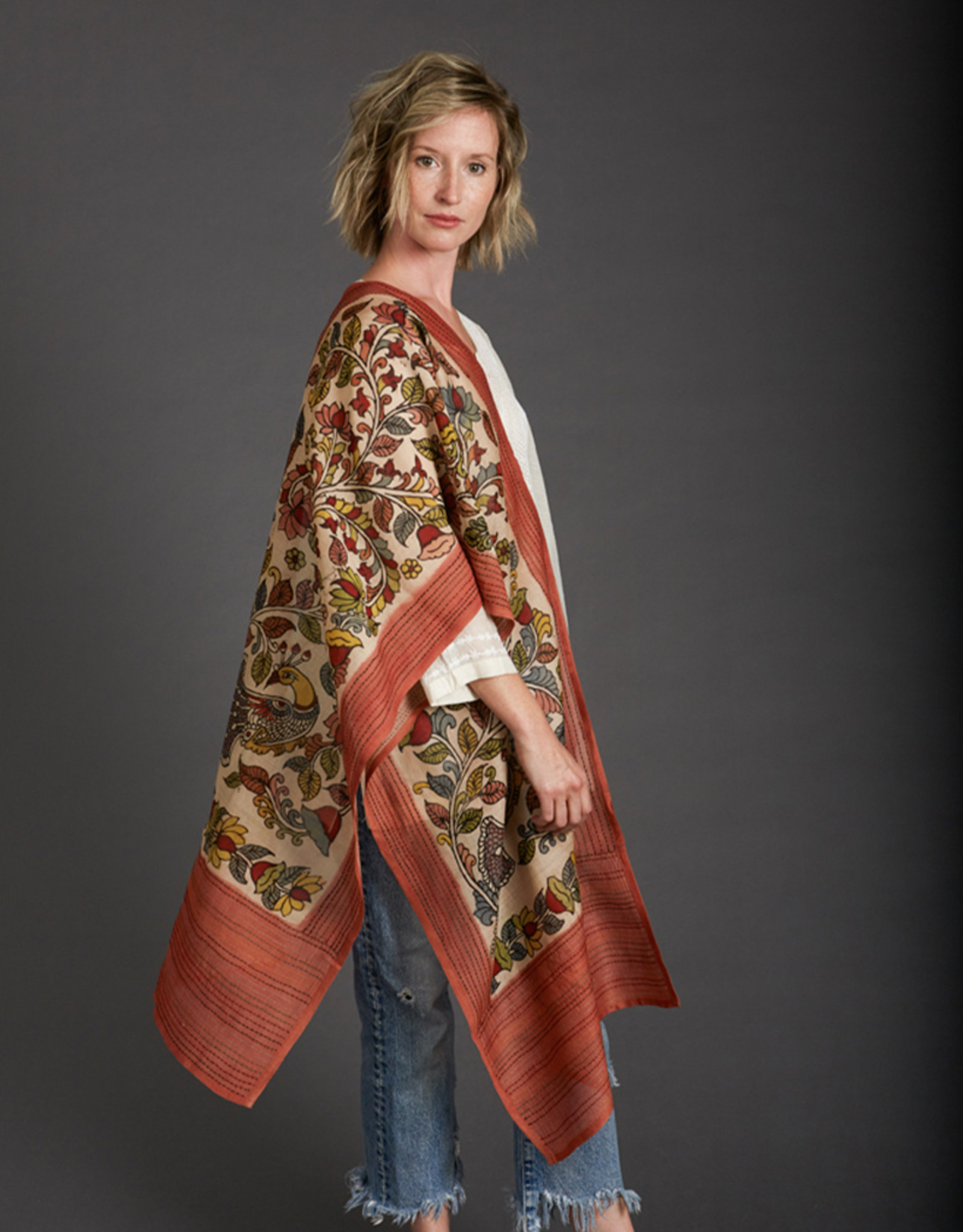 Dwaraka Hand Painted Cotton Scarf with Kantha Stitch Border Cream
