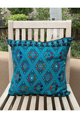 Hand Embroidered Turquoise Pillow