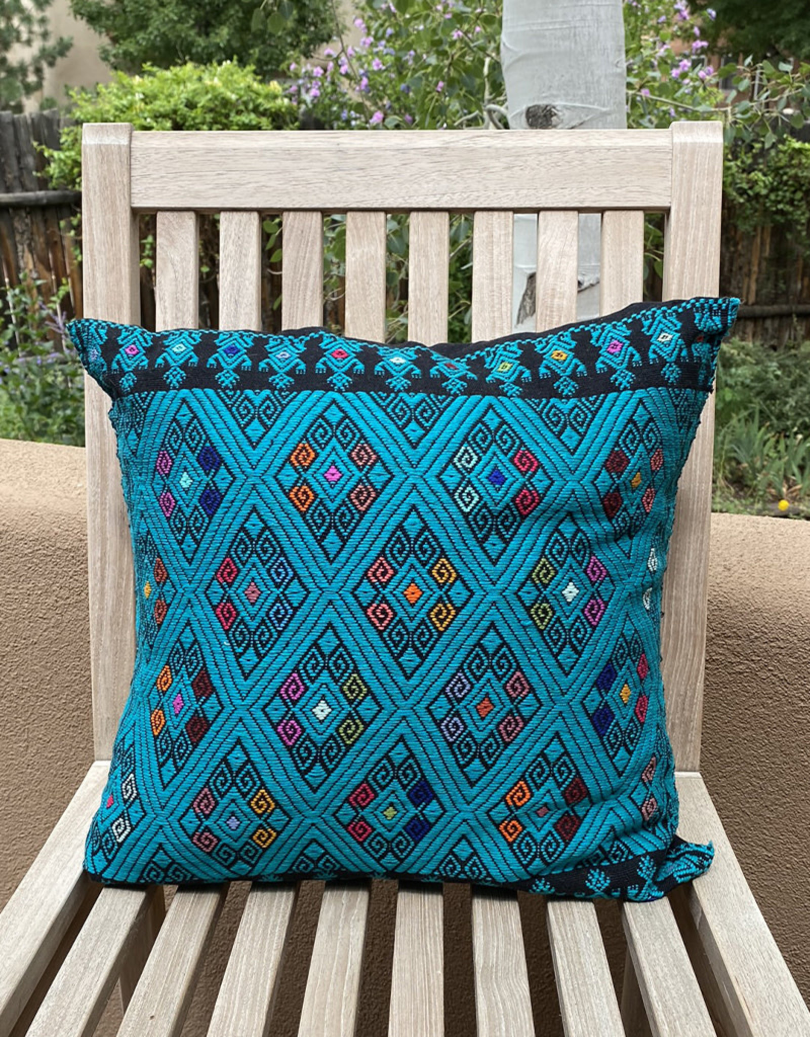 Hand Embroidered Pillow Turquoise