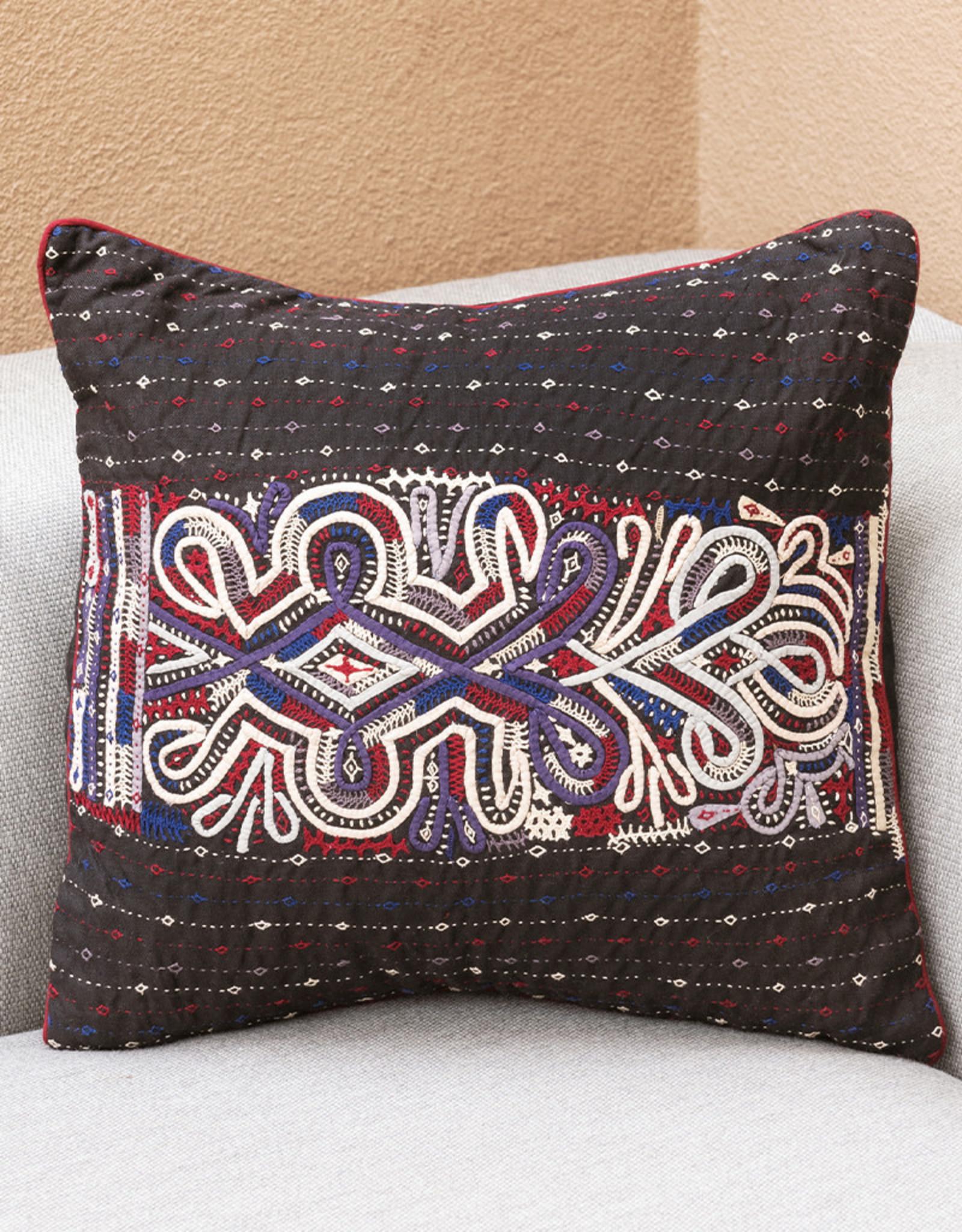 Qasab Ram Horn Pillow Black