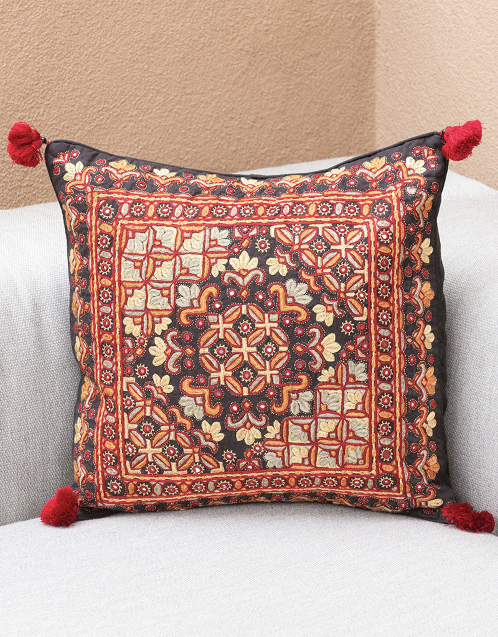Shisha Four Red Suns Pillow