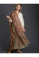 Dwaraka Hand Painted Silk Shawl with Fringe Rose