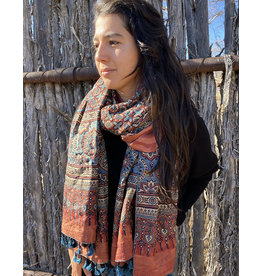 Sufiyan Ziba Shawl Cobalt Coral