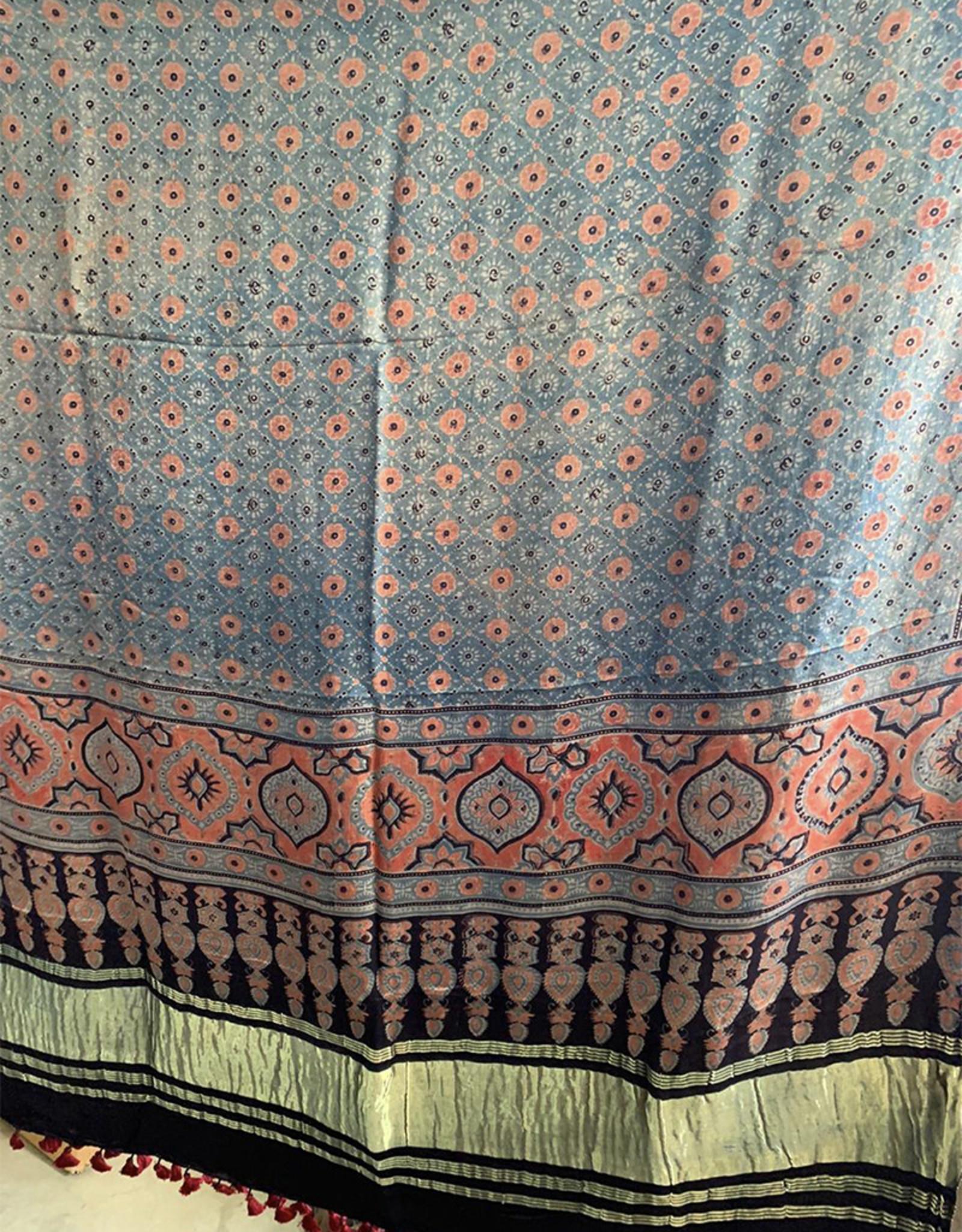 Sufiyan Fahsha Shawl Coral and Blue