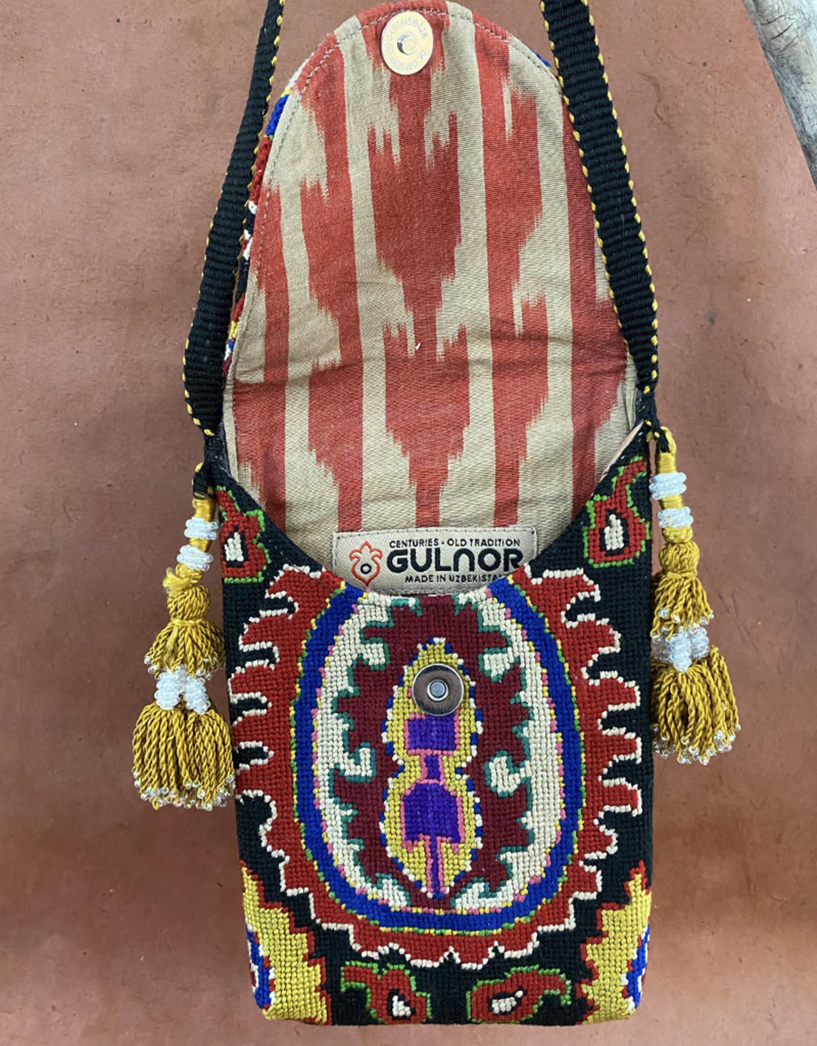 Gulnora Suzani Pouch Black Crimson